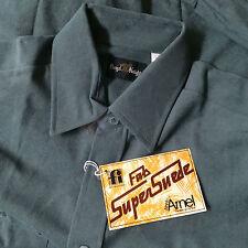 Vintage Green Mod Atomic Mid Century OG Pimp Button Surf Shirt Velour Velvet M