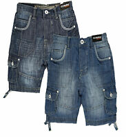 New Ripstop  Boys Shorts Denim Jeans Designer Blue Wash Light Wash  Age 7 - 13