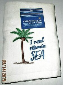 """COASTAL/NAUTICAL EMBROIDERED GUEST TOWEL ASSORTMENT 16"""" X 25""""  [Your Choice]"""
