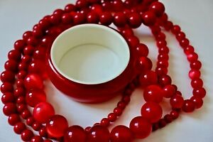 Vintage Raspberry Moonglow Lucite Necklace, Cherry Red Necklace and Bangle