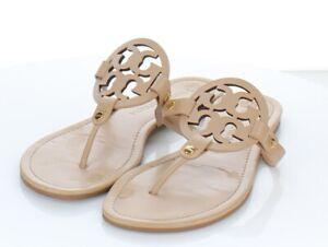18-34 $198 Women's Sz 10 M Tory Burch Miller Leather Medallion Thong Sandals