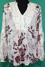 eaecbe5db60 Torrid White Burgundy Floral Chiffon Lace Inset Top 00x Med Large 10  93532