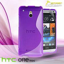 Purple S Curve Gel Case For HTC ONE Mini M4 + Screen Guard TPU Jelly Soft Cover