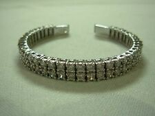 GORGEOUS ADI THAI STERLING SILVER DOUBLE ROW CZ CUBIC ZIRCONIA CUFF BRACELET !!!