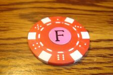 """ F "" Monogram Dice design Poker Chip,Golf Ball Marker,Card Guard Red/White"