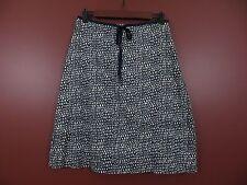 SK02617- ANN TAYLOR Women Cotton Sewn-in Tie Skirt Blue Beige Geo Print 4 MINT