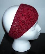 Stylish Wine Burgundy Adult Handmade Acrylic Crochet Flower Headband
