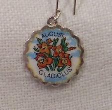 Vintage REU Sterling/Enamel August Gladiolus Birth Month Flower Bracelet Charm