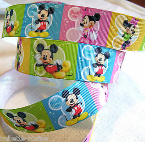 RUBAN GALON GROS-GRAIN - MICKEY MINNIE CARRÉ ARC-EN-CIEL ** 25 mm ** au mètre