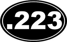 ".223 Bullet Gun AR 15 Euro Oval Car Decal Window Sticker Laptop 6"" - ANY COLOR"