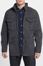 Lucky Brand Hooded Feild Military Full Zip Cargo Jacket Blue Wash Cotton Sz M