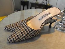 Delicious STUBBS & WOOTTON Green/Ivory/Brown Houndstooth Wool Heeled Mules   8M
