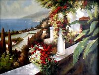 A Mediterranean Sea view from Balcony, Hand Painted Oil Painting 36x48in
