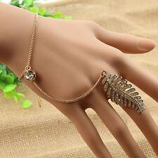 1X Slave Finger Ring Hand Harness Gold Plated  Chain Leaves Bracelet Bangle