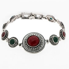 Round Luxury Vintage Style Black Blue Red Green Antique Silver Bracelet BB187
