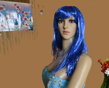Kostüm Damen Perücken glatt Party Karneval Perrücke Lametta Lamettaperücke blau
