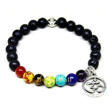 7 Chakra Healing Black Lava Beads Mantra Charm Reiki Prayer Yoga Bracelet