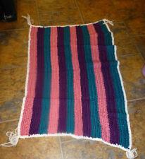 Crocheted Doll/Baby Blanket Afghan  Purple Green Stripe 100% Acrylic 22 x 39