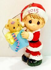 Santa Boy with Bear in Gift Bag 2015 Dated Precious Moments Christmas Ornament