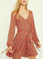 9155 New Free People Pradera Printed Skater Plunging Neckline Red Tunic Dress S