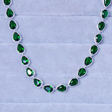 11*8MM Pear Cut Green Emerald Wedding Collar Silver-Tone Tennis Necklace 16.92in
