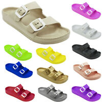Women's Double Buckle Sandals Adjustable Slide EVA Rubber Strap Waterproof