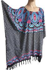 femmes noir/imprimé bleu franges caftan poncho tunique plage grand taille NEUF