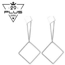 Classic 18K White Gold Filled Elegant Square Long Dangle Drop Stud Earrings Gift