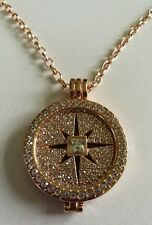 Rose gold crystal necklace 33mm Coin Necklace CZ Disc Pendant Christmas 700
