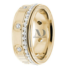 1.02 Ctw Channel & Burnish Setting Diamond Wedding Band Solid 14K Gold 7.5mm
