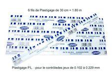 6 BRINS DE 30 cm de Plastigage BLEU - pour les jeux de 0.102 à 0.229 mm