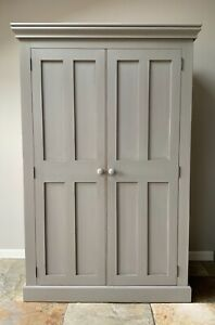 Large Farmhouse Rustic Wardrobe Cupboard Armoire Hand Painted Grey Solid Pine