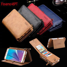Genuine Leather Magnetic Multifunction Removable Wallet Card Phone Case Cover