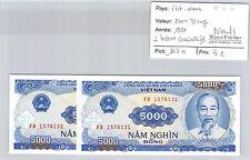 2 BILLETS VIETNAM - 5000 DONG 1991 - BILLETS CONSÉCUTIFS - NEUFS !!! ***