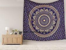 Blau Gold Ombre Mandala-Doppelt Wand Hängende Tapisserie Indische Bettdecke Art