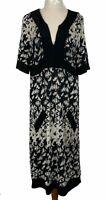 BNNT Basque Womens Black/Brown Short Sleeve 2 Pockets Long Dress Size 12