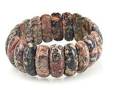 """Estate Decorative Leopard Skin Jasper Gemstone Stretch Bracelet, 7"""""""