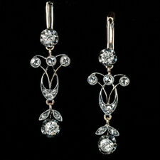 Antique Edwardian Diamond Silver Gold Pendant Earrings