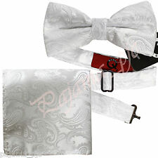 Brand new White Paisley Jacquard Tuxedo Mens Bow Tie and Pocket Square SET B1455