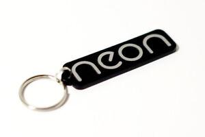 Chrysler Dodge Neon Keyring - Brushed Chrome Effect Car Keytag / Keyfob
