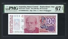 Argentina 100 Australes ND(1985-90) P327c* Replacement  Uncirculated Grade 67