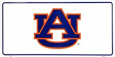 University of Auburn Tigers White Metal License Plate Auto Tag Sign