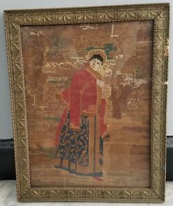 **Antique Imperial Russian Framed Needlework Cross Stitch Girl in Boyar Outfit**