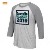 Men's Reebok CrossFit 2016 3/4 Raglan Sleeve T-Shirt Tee BU0023 Grey