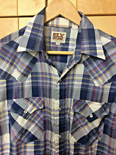 Ely Cattleman Men's Blue & White Plaid Rockabilly Western Pearl Snap Shirt M
