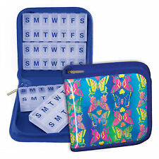 Pill Organizer Vitamins 4-8 weeks Blue Case Magnetic Travel Home #PBO-R107#
