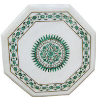 """15""""x15"""" White Marble Coffee Table Top Malachite Gems Marquetry Inlay Home Decor"""