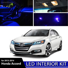 14PCS Blue Interior LED Light For 2013-2014 Honda Accord White for License Plate