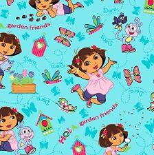 """Nickelodeon Dora Hola Garden Friends 100% cotton Fabric Remnant 32"""""""