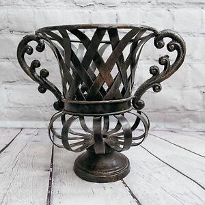 French Metal Wire Iron Basket Footed Urn Planter Black Bronze 2 Handles Garden